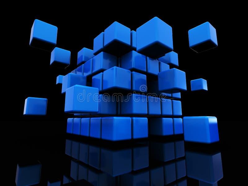 abstrakt kubstruktur stock illustrationer