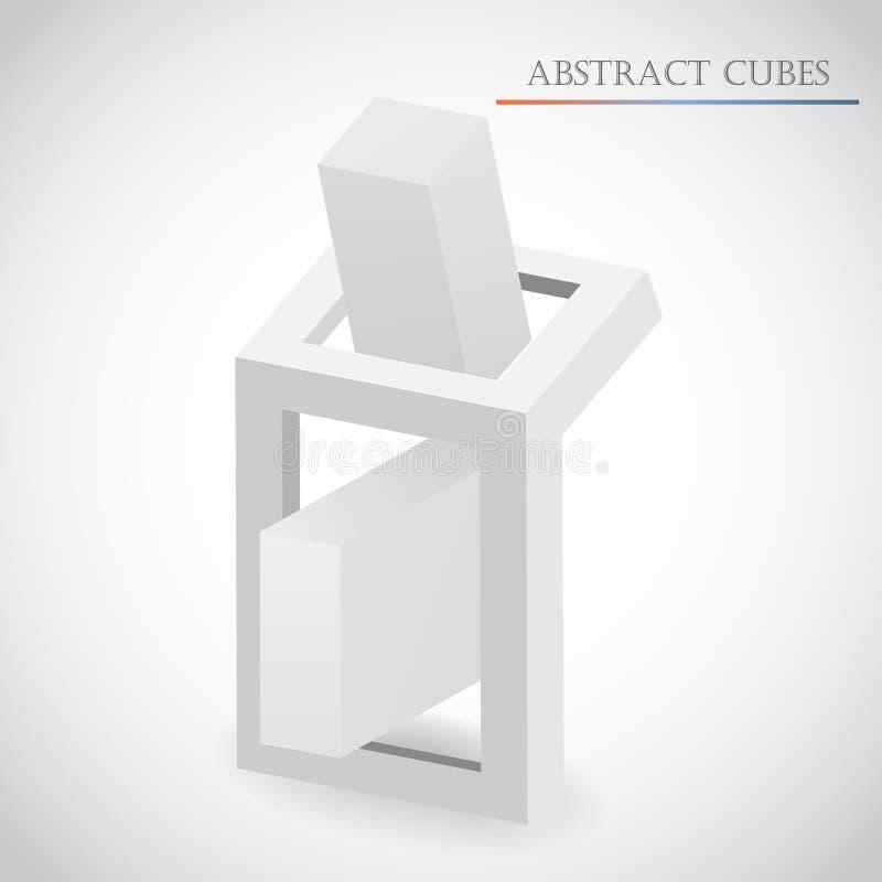 Abstrakt kubvektor stock illustrationer