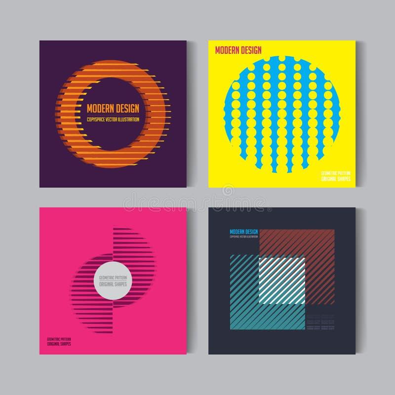 Abstrakt kuggfrågauppsättning Art Graphic vektorbakgrunder i Retro schweizare sänker stil Isolerat diagram, Shape, symbol, logo f vektor illustrationer