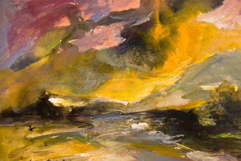 abstrakt kust- målningsstormvattenfärg arkivbild