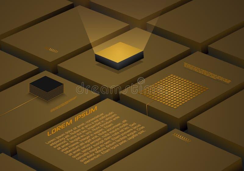Abstrakt kvarterbakgrund med konstgjord intelligens, robotic processor för kvantberäkning i guld- färg r stock illustrationer