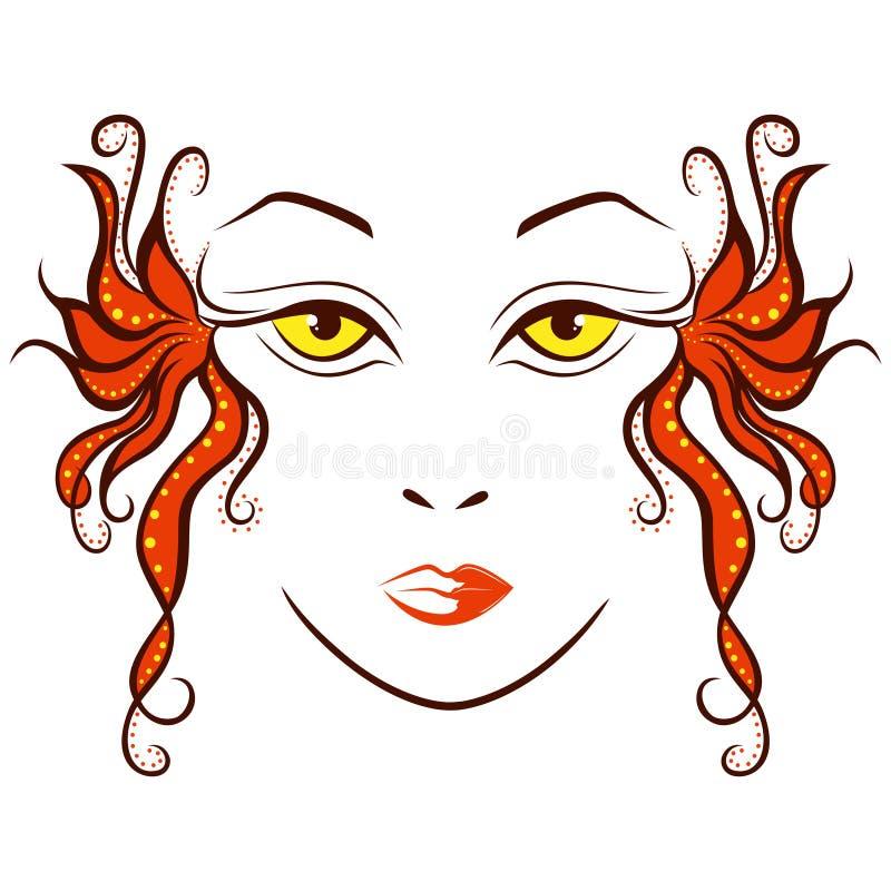Abstrakt kvinnaframsida med stiliserade lås vektor illustrationer