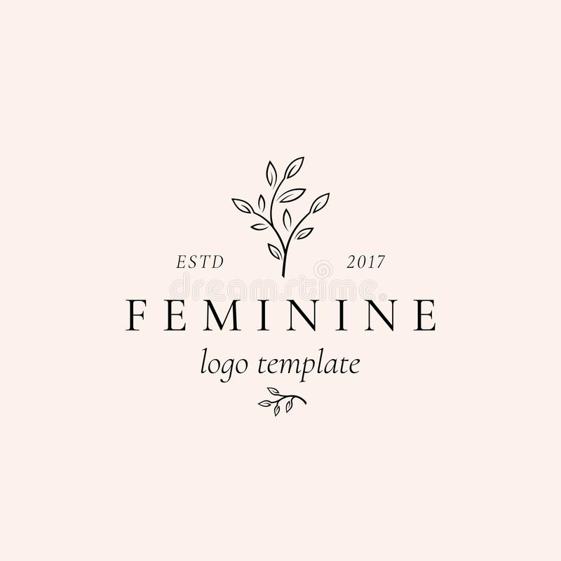 Abstrakt kvinnligt vektortecken, symbol eller Logo Template Retro blom- illustration med flott typografi högvärdigt royaltyfri illustrationer