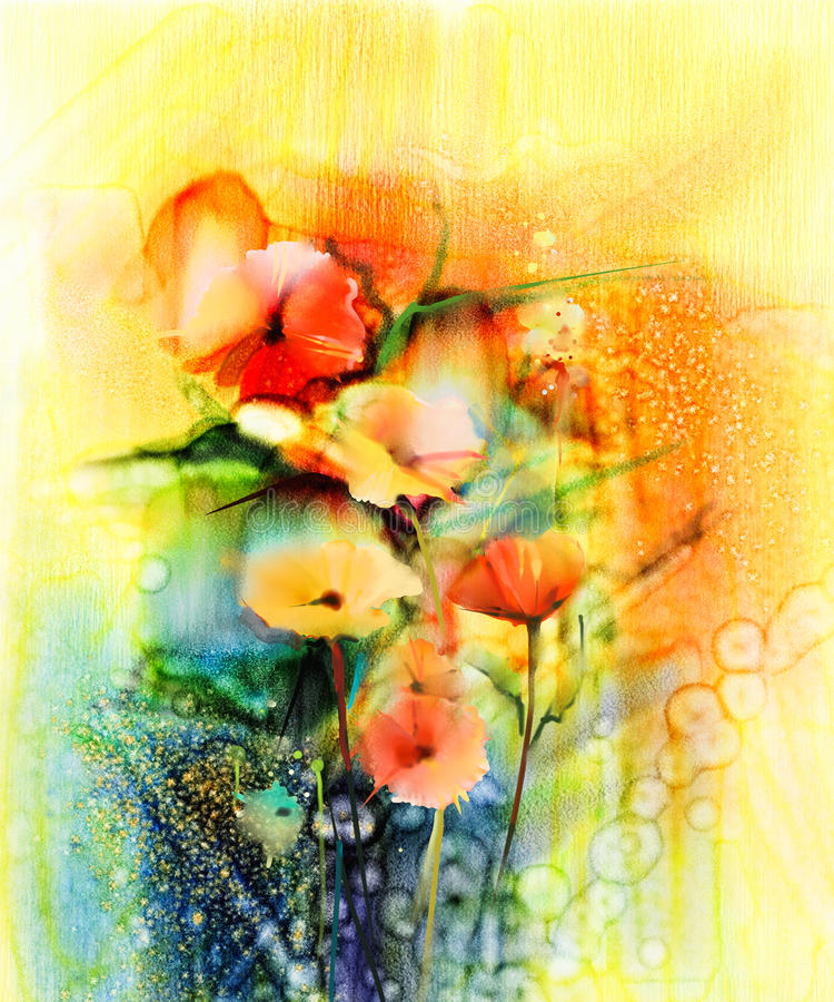 Abstrakt kwitnie akwarela obraz royalty ilustracja