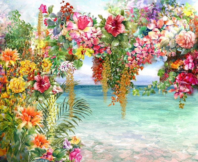 Abstrakt kwitnie akwarela obraz Wiosna stubarwna blisko morza royalty ilustracja