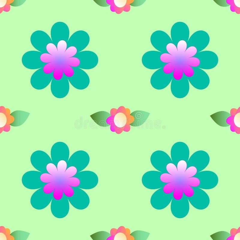 Abstrakt kwitnie na zielonym tle, bezszwowy wzór royalty ilustracja