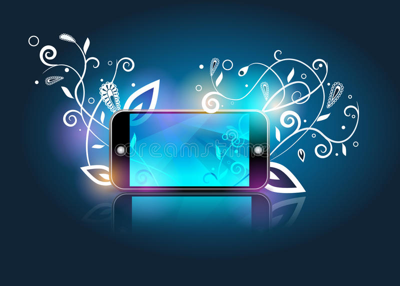 abstrakt kwitnie smartphone wektor