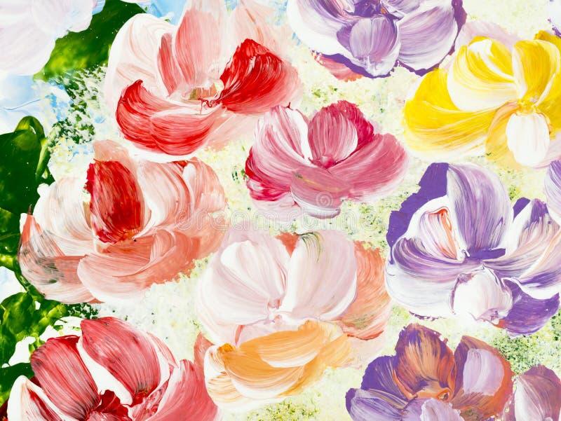 Abstrakt kwitnie, zako?czenie czerep akrylowy obraz na kanwie Kreatywnie abstrakcjonistyczna r?ka maluj?cy t?o ilustracja wektor