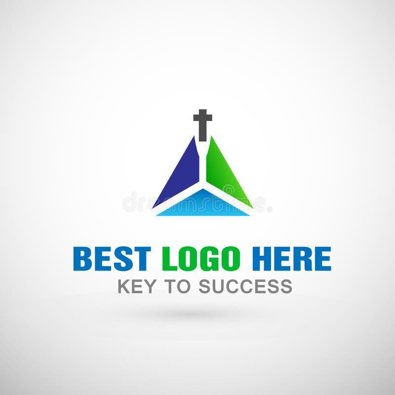 Abstrakt kyrklig design för symbol för kors för logotriangellogo för kyrkligt företag royaltyfri illustrationer