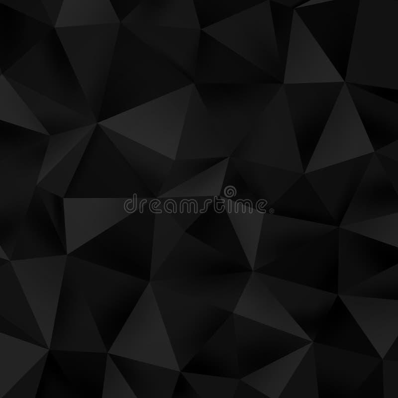 Abstrakt låg poly bakgrund för triangelsvarttextur Mörk polygonal triangulär mosaikmall 10 eps royaltyfri illustrationer