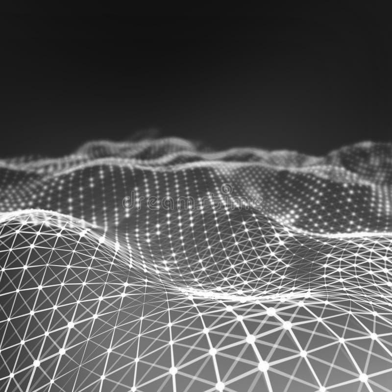 Abstrakt låg poly bakgrund Polygonal bakgrund för Plexus För Plexus poly landskapbakgrund lågt plexus för wireframe 3D royaltyfri bild