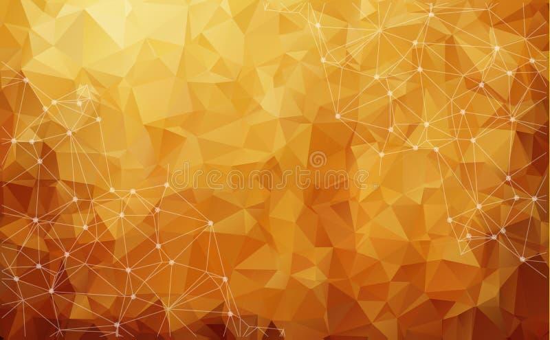 Abstrakt låg poly mörk brun teknologivektorbakgrund Conne vektor illustrationer