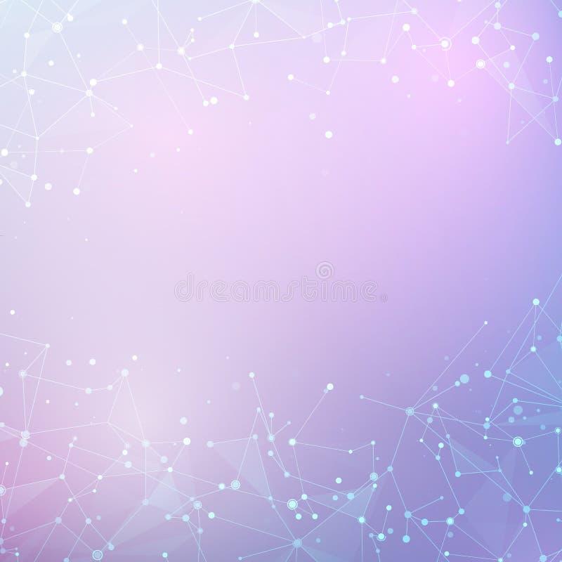 Abstrakt låg poly teknologivektorbakgrund Knutpunkt- och anslutningsstruktur Datavetenskapsbakgrund royaltyfri illustrationer