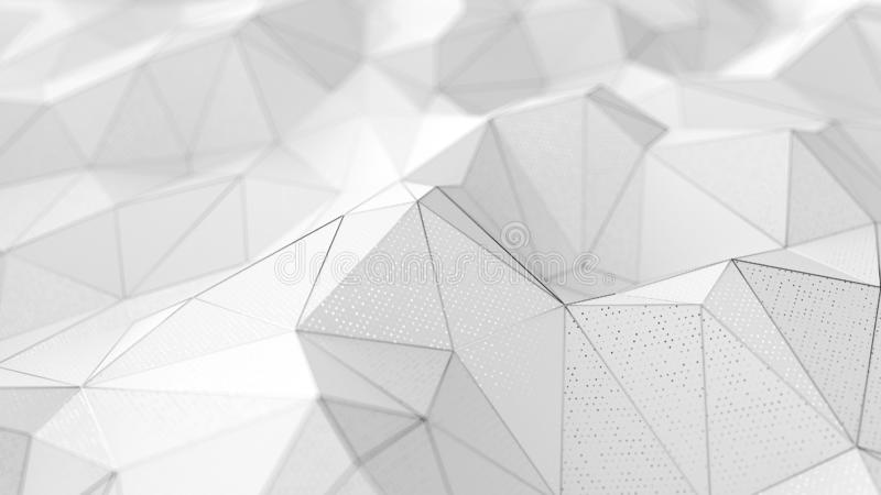Abstrakt låg-poly vit bakgrund med kromlinjer arkivfoto