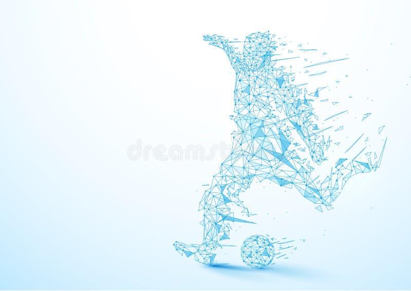 Abstrakt låg polygonfotbollsspelare som sparkar bollbakgrunden royaltyfri illustrationer