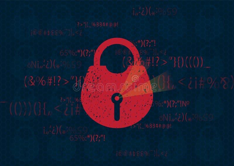 Abstrakt lås för säkerhet för globalt nätverk för teknologibakgrund Systemavskildhet med låset och futuristiska linjer Teknologis vektor illustrationer