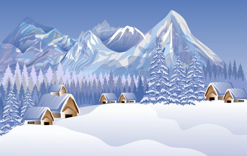 Abstrakt landskap för glad jul för vektor Hus snö solbränna två för kupor för presentationen för inbjudan för illustrationen för  vektor illustrationer