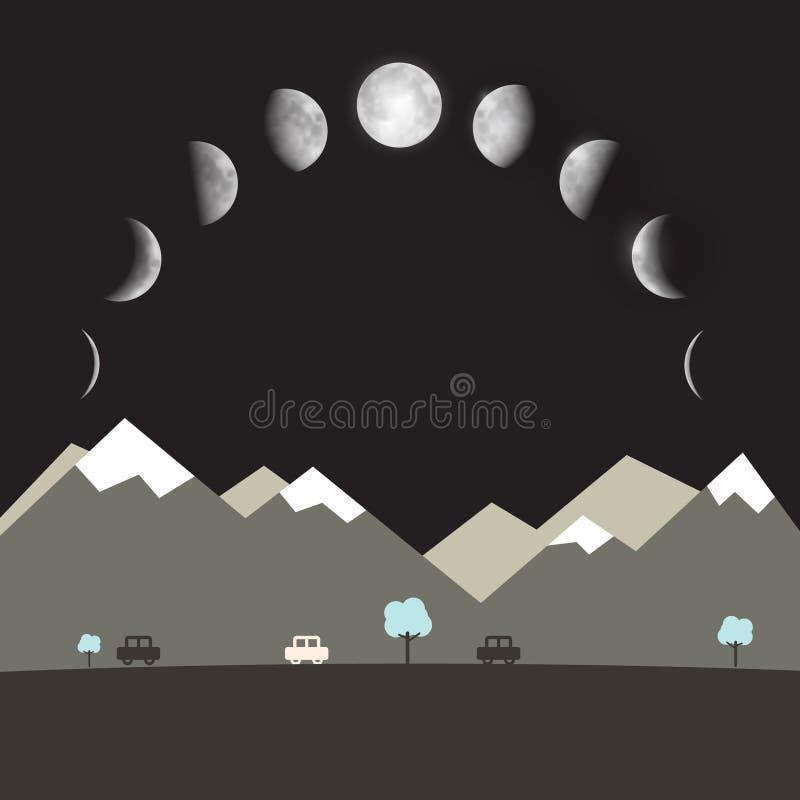 Abstrakt landskap för natt för vektorlägenhetdesign stock illustrationer