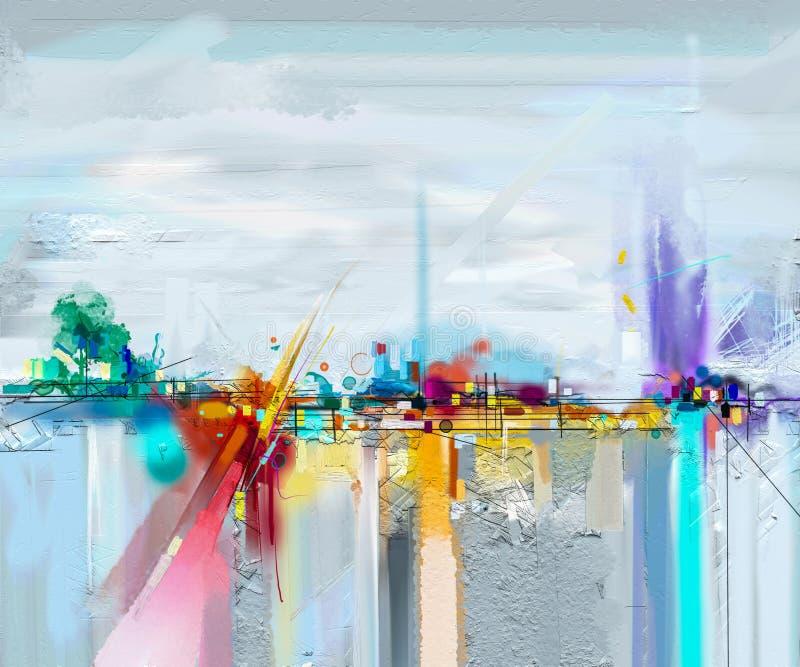 Abstrakt landskap för olje- målning Olje- målning som är utomhus- på kanfas Halvt abstrakt träd, fält, äng stock illustrationer