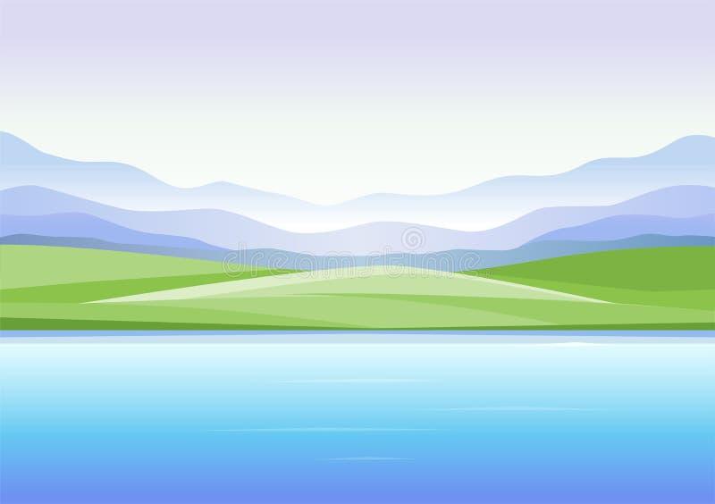 Abstrakt landskap med berg och sjön - modern vektorillustration royaltyfri illustrationer