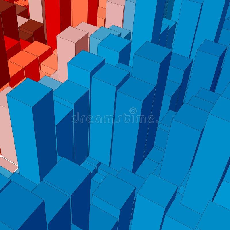 Abstrakt landskap med kulöra kuber Abstrakta topografier av digitalt utrymme Fält av geometri royaltyfri illustrationer