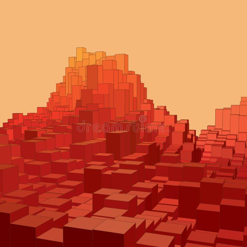 Abstrakt landskap med kulöra kuber Abstrakta topografier av digitalt utrymme Fält av geometri vektor illustrationer