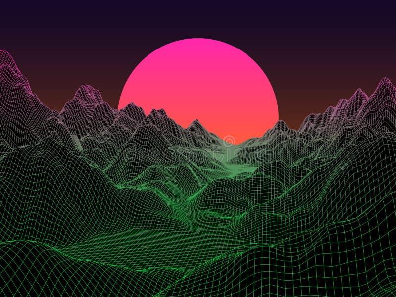 Abstrakt landskap med sfärsolen på horisont Teknologivektor royaltyfri illustrationer