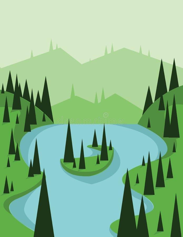 Abstrakt landskapdesign med gröna träd och den flödande floden, sikt från överkanten till en ö, lägenhetstil vektor illustrationer