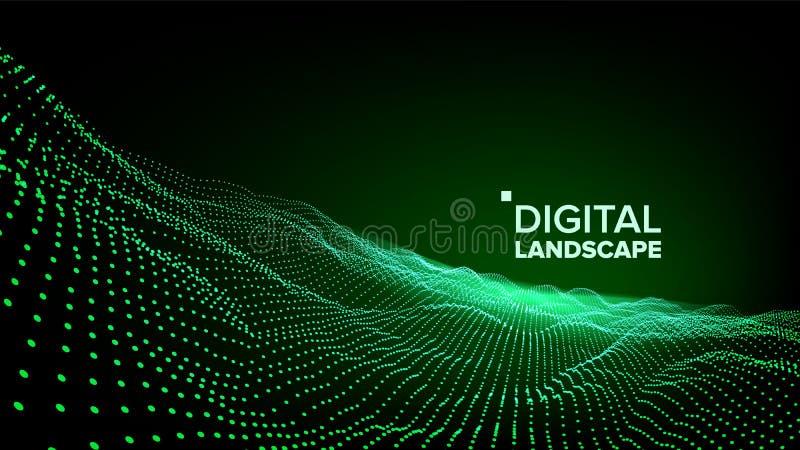 Abstrakt landskapvektor Partikel Wireframe Stort flöde Cyberbegrepp futuristic diagram Lättnadsstruktur 3d stock illustrationer