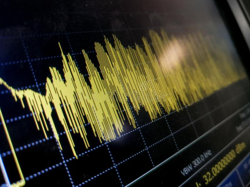 Abstrakt LCD-fragment av resultat för mätning för spektrumanalysator arkivbilder