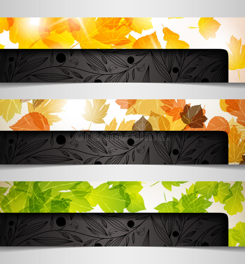 abstrakt leaf för bland för kombination för höstbabaner royaltyfri illustrationer