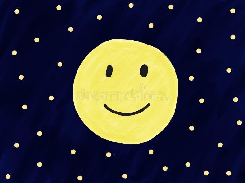 Abstrakt leende för fullmåne för handattraktionklotter på natthimmel med stjärnan, illustration, kopieringsutrymme för text, vatt vektor illustrationer