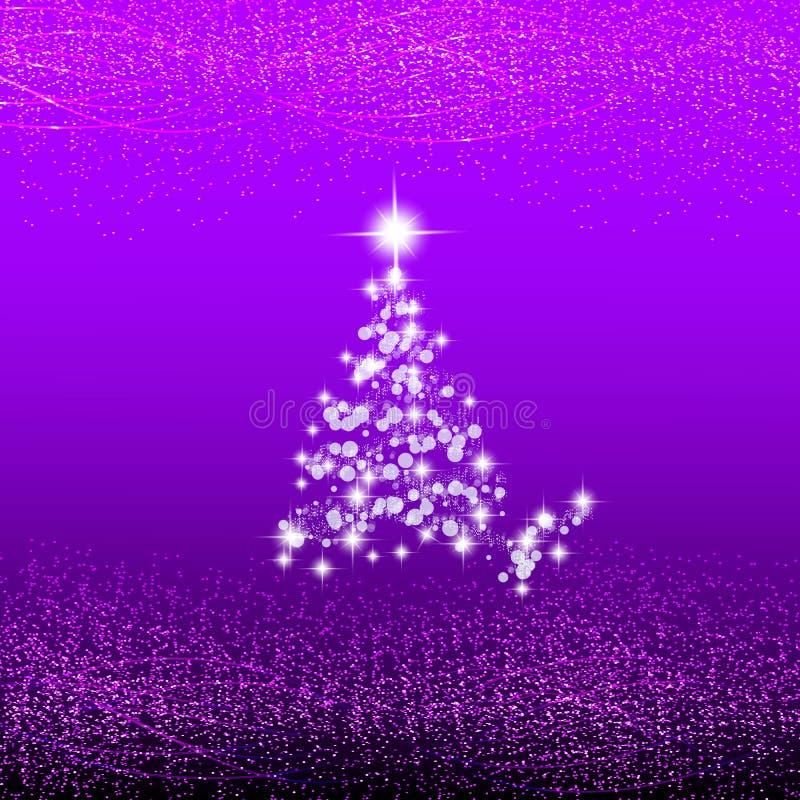 Abstrakt lila bakgrund med julträdet, vågor och ljus Festmåltid av jul stock illustrationer