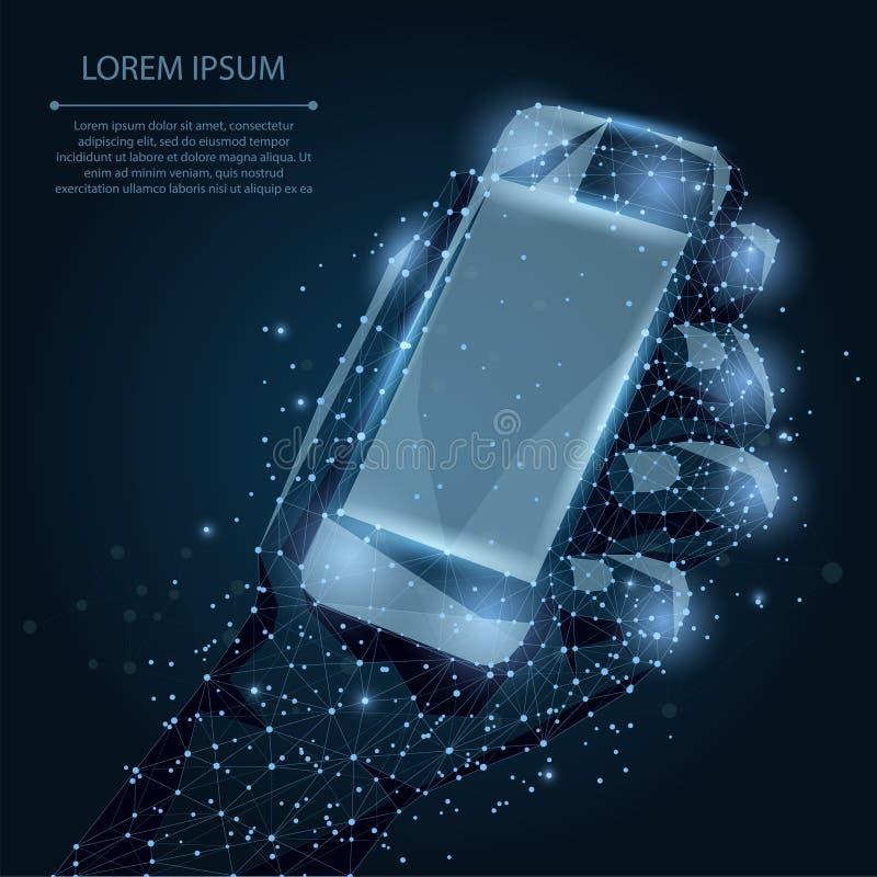Abstrakt linia i punktu telefon komórkowy z pustym ekranem, trzyma mężczyzna ręką Komunikacyjny app smartphone na nocnym niebie z royalty ilustracja