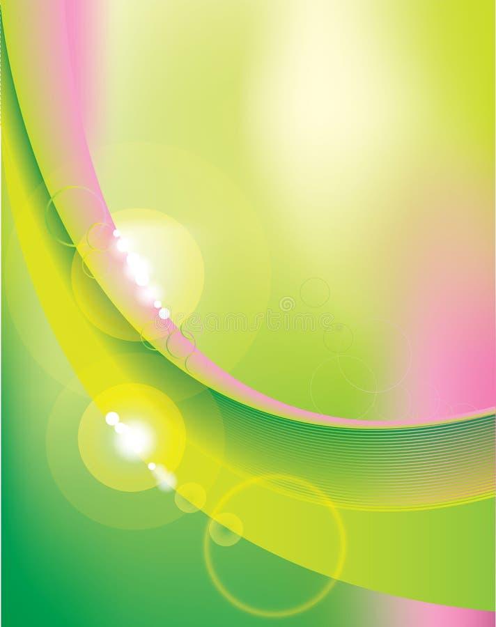 Abstrakt linie z świeżymi kontrastów kolorami jasnozielony i różowy ilustracji