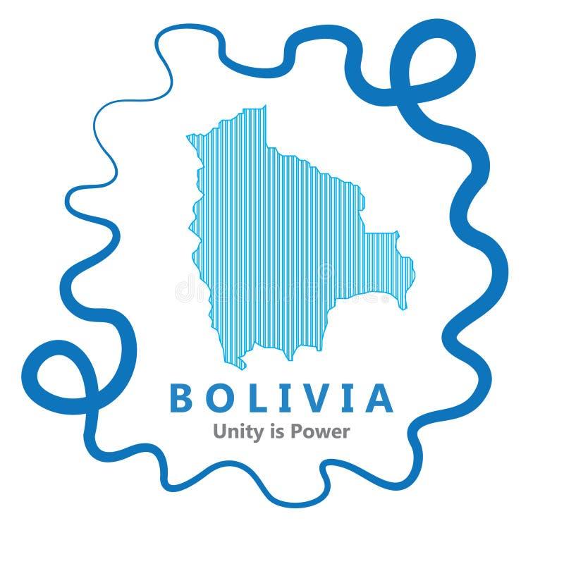 Abstrakt linje bakgrund med översikten av den Bolivia landsvektorn i eps 10 royaltyfria bilder