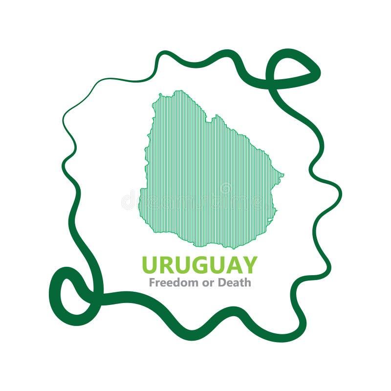 Abstrakt linje bakgrund med översikten av den Uruguay landsvektorn i eps 10 royaltyfria foton