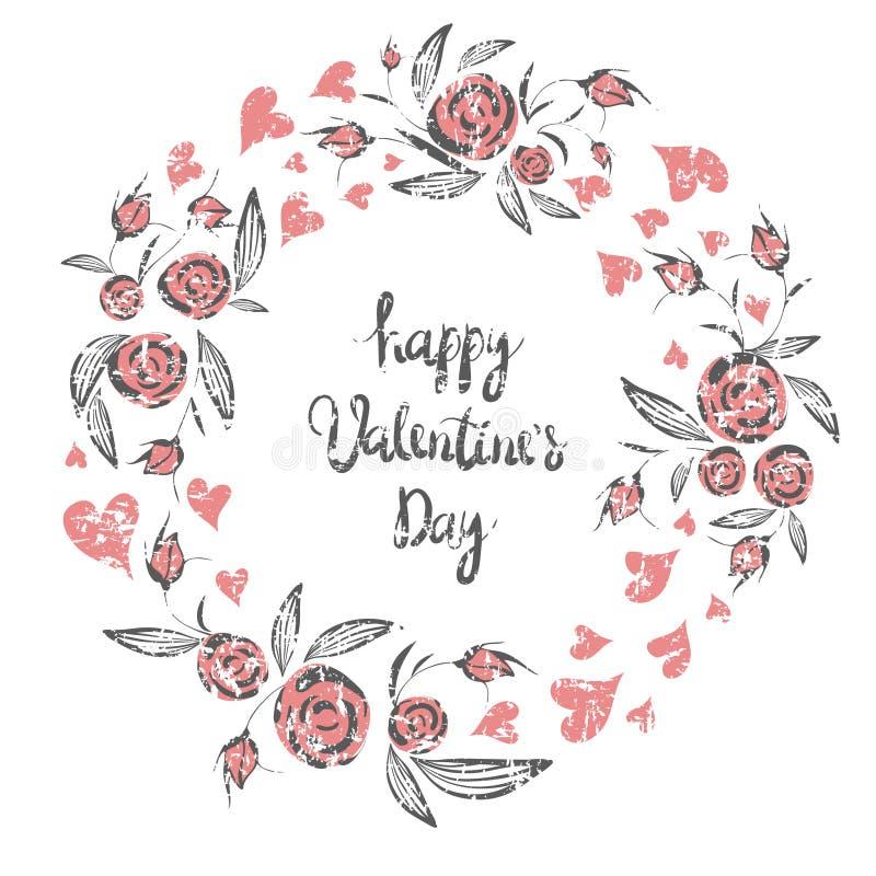 Abstrakt linje elegant blom- ram som beståndsdel för att gifta sig, födelsedag, valentindag och annan romantisk design Kran av ro stock illustrationer