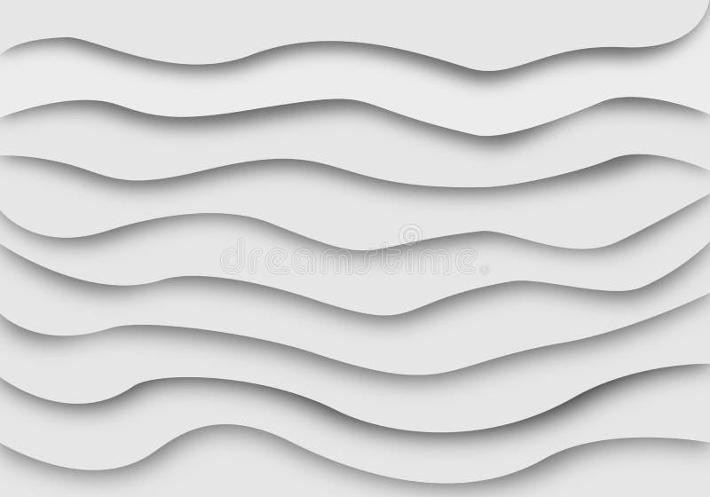 Abstrakt linje våglagerbakgrund Pappers- klippt konstdesignmodell stock illustrationer