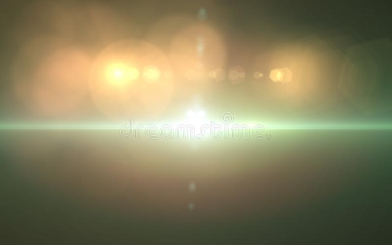 Abstrakt linssignalljusljus över svart bakgrund royaltyfri illustrationer
