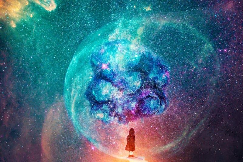 Abstrakt liten flicka som föreställer andra världar i en mitt av en glödande galax royaltyfri illustrationer