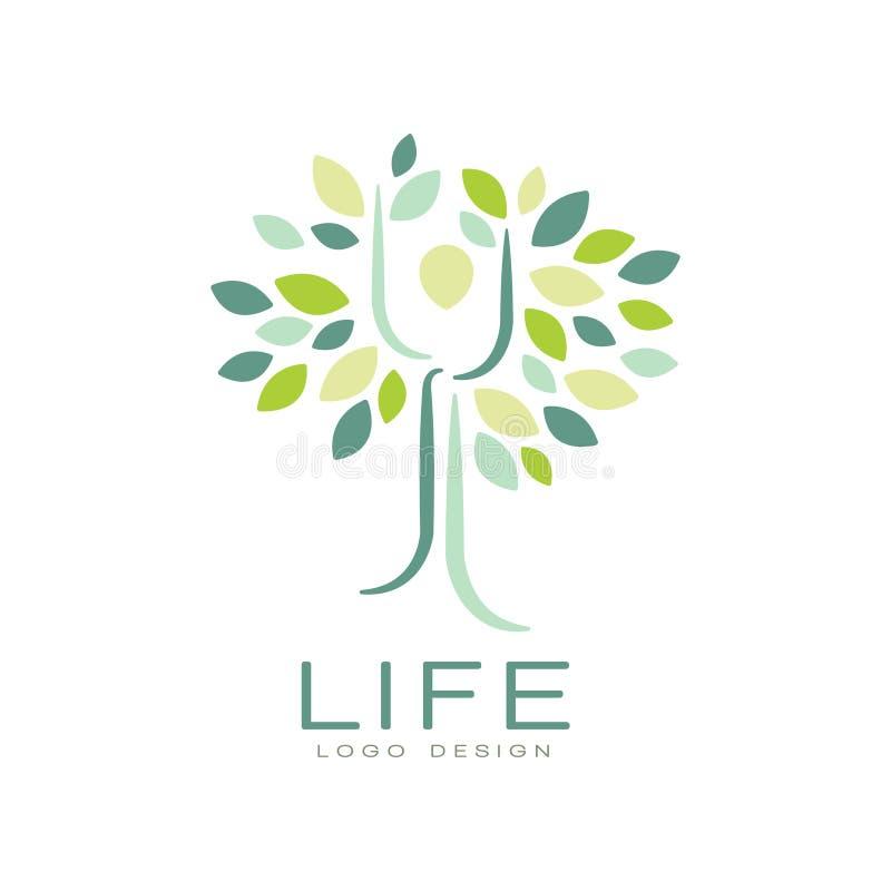 Abstrakt livlogodesign med gräsplansidor och konturn av människan Plant vektoremblem för självutvecklingsmitt eller royaltyfri illustrationer