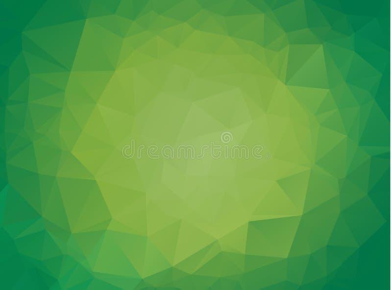 Abstrakt ljus - grön glänsande triangulär bakgrund En prövkopia med polygonal former Den texturerade modellen kan användas för ba royaltyfri illustrationer