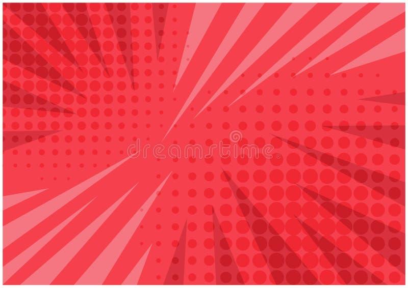 Abstrakt ljus röd randig retro komisk bakgrund royaltyfri illustrationer