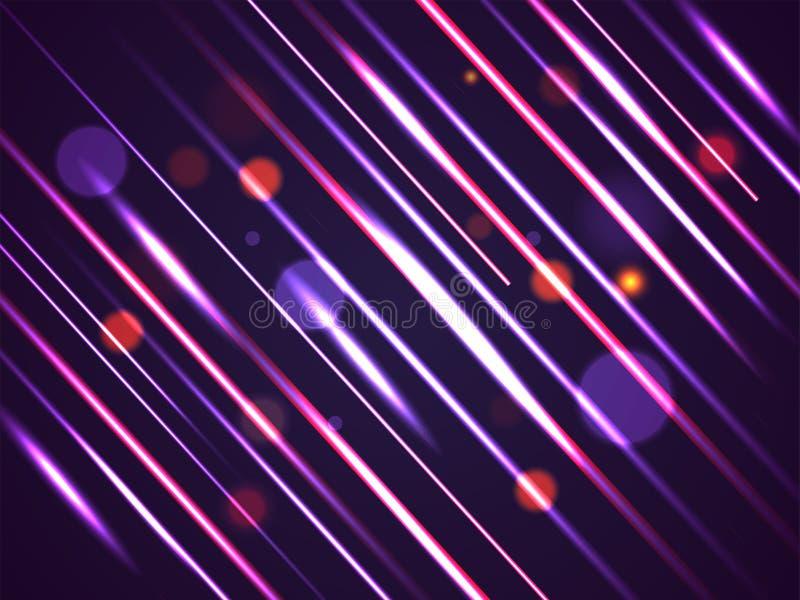 Abstrakt ljus rörelsebakgrund med skinande diagonala band och bokeheffekt royaltyfri illustrationer