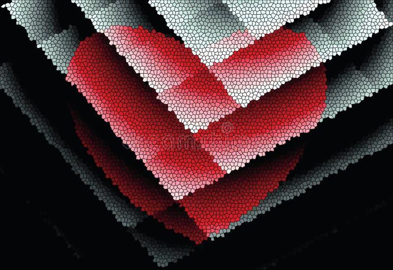 Abstrakt ljusa mönstrar Röd hjärta på målat glass royaltyfri illustrationer