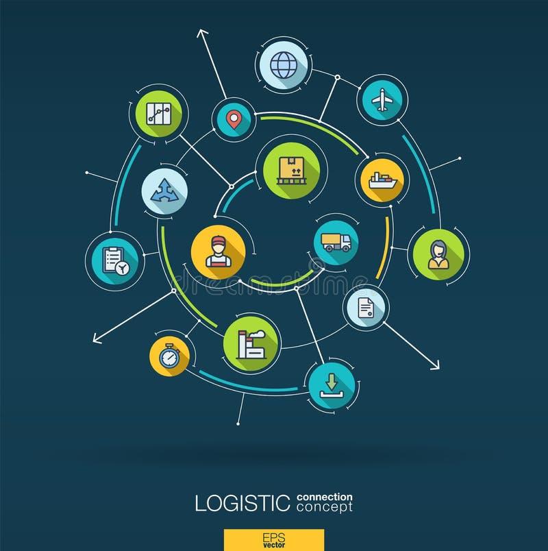 Abstrakt logistisk och fördelningsbakgrund Digital förbinder systemet med inbyggda cirklar, den tunna linjen symboler för lägenhe royaltyfri illustrationer