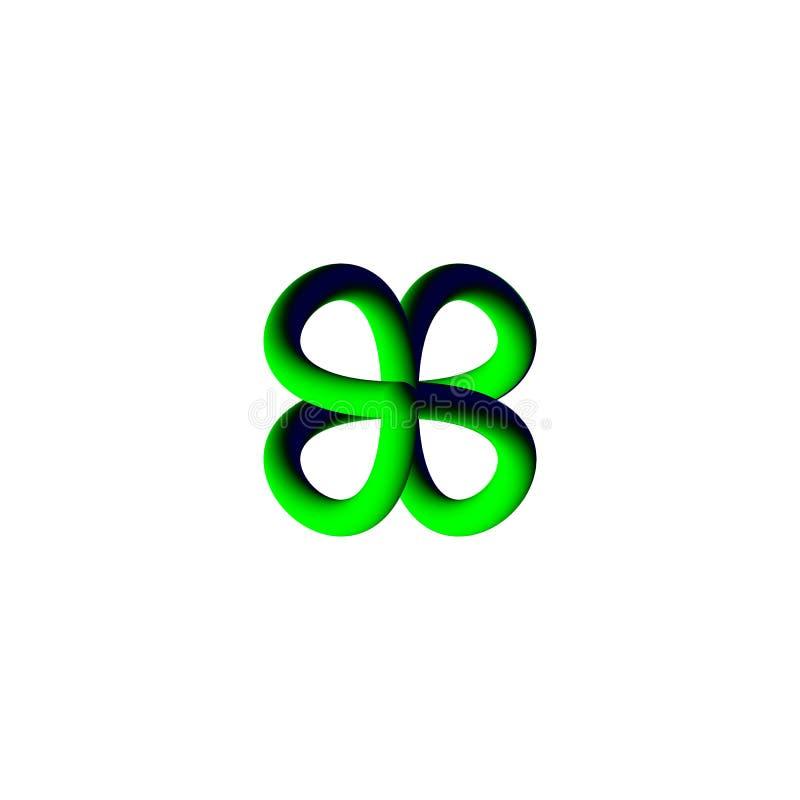 Abstrakt logo 3d på en vit bakgrund stock illustrationer