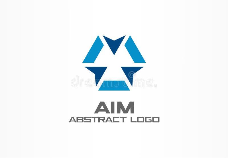 Abstrakt logo för affärsföretag Designbeståndsdel för företags identitet Kamerafokus, ramepicentrum, vapencrosshair royaltyfri illustrationer