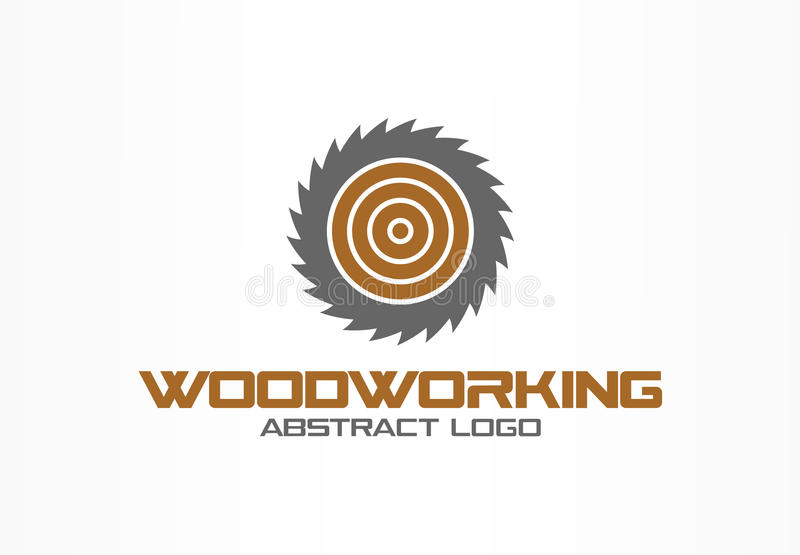 Abstrakt logo för affärsföretag Designbeståndsdel för företags identitet Såg snickeri, wood materiell logotypidé royaltyfri illustrationer
